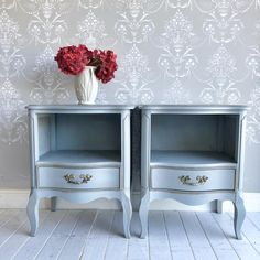 Blue Furniture, Country Furniture, Vintage Furniture, Cool Furniture, Blue Nightstands, Nightstand Set Of 2, Bedroom Table, Bedroom Ideas, Upcycled Furniture Before And After