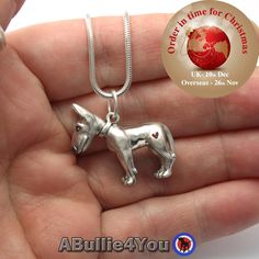 English bull terrier dog necklace/pendant, made from 925 sterling silver, comes with silver snake chain. Ideal Christmas gift by ABullie4You on Etsy https://www.etsy.com/listing/255174094/english-bull-terrier-dog-necklacependant