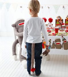 Sock Monkey Tails for party favors.