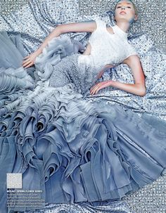 Model Jay Nova wearing a stunning grey ombre couture gown for Vogue Thailand August 2013. More Great Looks Like This
