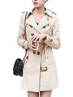 Enlishop Women's Double Breasted Long Sleeve Solid Fashion Trench Coat Review