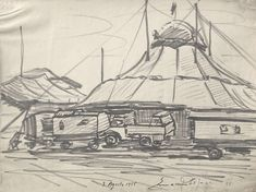 E. Besozzi pitt. 1955 circo pennarello su carta cm. 30x40 arc. 65