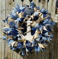 Nautical Wreath-Deco Mesh Wreath-Beach Wreath-Front Door Wreath-Wreath-Mesh Wreath-Boat Wreath-Outdoor Wreath-Summer Wreath-Anchor Wreath by SouthernThrills on Etsy
