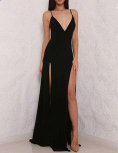 Backless+Black+Prom+Dress+with+Slits Made+to+order,+can+be+made+with+any+change. Pls+order+at+least+2+months+earlier+before+your+event+day. Shown+Color:+Black Available+Color:+As+Picture+or+Custom+Color(pls+leave+the+color+or+color+code+in+the+order+note+section+since+color+variant+is+n...