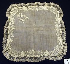Love this dainty 19th century linen handkerchief!                                                                                                                                                     More