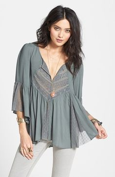 Free People 'Sweeter Emotion' Mesh Inset Peasant Top available at #Nordstrom
