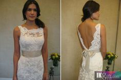 High neck, low back Wedding Dress