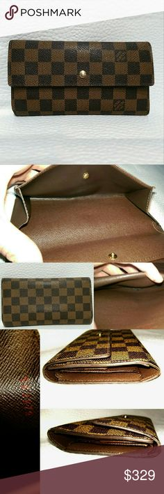 Authent Louis Vuitton Brown Damier Trifold Wallet In good used condition. Minor wear from use shown in pics. Just cleaned and double conditioned, smooth and ready to wear. Smoke & pet free home, ALWAYS.  No interior leather peeling. Louis Vuitton Bags Wallets