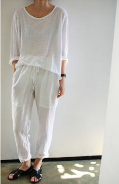 white on white. loose top. loose linen pants.