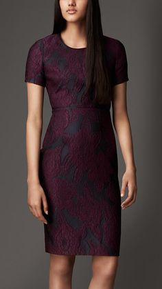 Floral Jacquard Shift Dress | Burberry London, A straight fit shift dress in a distinctive floral jacquard with soft lambskin trim. Designed with a fitted waist and soft shoulders, the dress has a feminine silhouette.