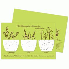 Flavorful Memories Herb plantable wedding favor is made with plantable paper. Each plantable favor is embedded with herb seeds and will grow parsley, dill and basil. These eco-friendly wedding favors are available in many other designs. Seed Wedding Favors, Wedding Shower Favors, Personalized Wedding Favors, Unique Wedding Favors, Unique Weddings, Wedding Ideas, Wedding Stuff, Wedding Decorations, Wedding Inspiration