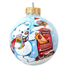 "4"" Bear Mailing Christmas List Glass Ball Christmas Animal Ornament #MadeinUkraine"