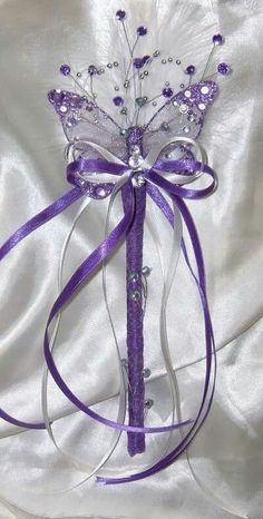 flower girl purple wands & bridesmiads wands - wands for a princess Wedding Wands, Wedding Bouquets, Butterfly Wedding Theme, Flower Girl Wand, Our Wedding, Dream Wedding, Fairy Wands, Rings For Girls, All Things Purple
