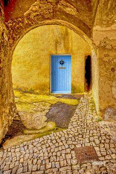 Arched portal to a blue door - Seguret, Provence, France Cool Doors, Unique Doors, Portal, Door Knockers, Door Knobs, Graphisches Design, When One Door Closes, Door Gate, Mellow Yellow