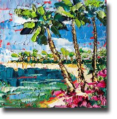 BEACH  Painting Original Oil Painting Tropical Ocean by bsasik, $89.00