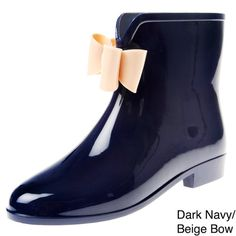 Henry Ferrera Short Ankle Navy with Beige Bow Rainboots with Bow Size 6 11 | eBay