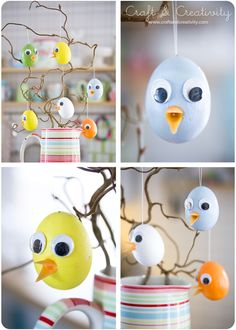 Chick egg tree:  multiple eggs decorated as chicks & hang from a tree (tree branch with coffee cup as stand). Painted styrofoam eggs, jiggly eyes, plastic beaks & feathers for tail is optional. Other cute ideas on this site!!
