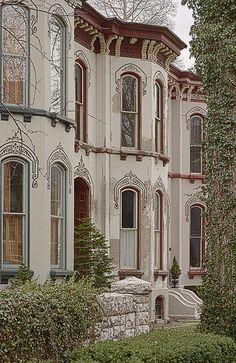 Lafayette Square neighborhood, in Saint Louis, Missouri, USA - stenciled townhomes