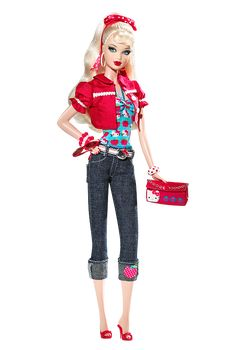 Hello Kitty® Barbie® Doll (2008)  Barbie® doll celebrates the charm and whimsy of the Hello Kitty® brand in this adorable brightly colored ensemble. Blue capri pants, Hello Kitty® print tank top and accompanying red crop jacket have a slightly rockabilly look. Awesome accessories include stylish sunglasses, funky bracelets, hoop earrings, and a fantastic Hello Kitty® clutch. The doll's platinum blond hair has been pulled back into a ponytail, accented with a red ribbon with white polka dots.