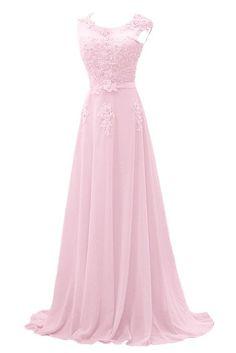 Gorgeous Bride Modisch Lang Rundkragen A-Linie Chiffon Tuell Spitze Schleppe Abendkleider Festkleider Ballkleider -32 Bildfarbe