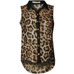 BLONDE & BLONDE Leopard Sleeveless Blouse ($12) ❤ liked on Polyvore featuring tops, blouses, shirts, blusas, leopard print blouse, leopard chiffon blouse, sleeveless tops, chiffon shirt and button front shirt