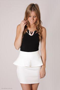 sundance peplum mini skirt - white