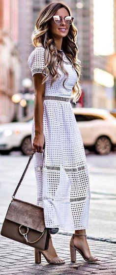 stylish office outfit idea: white dress + heels + bag