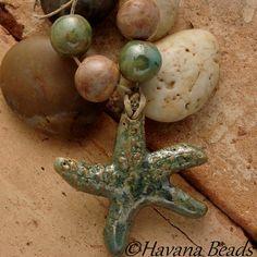 METALLIC GREEN STARFISH  - Handmade Ceramic Pendant and Coordinating Beads by HavanaBeads.etsy.com