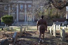 """""""On This Spit Of Land Massa and I Reside"""", Pre-revolutionary Dutch Cemetery, Brooklyn from the White Shoes series, Copyright Nona Faustine"""