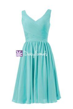 Elegance Tiffany Blue Bridesmaid Dress V neckline Bridesmaid Dress (BM5196S)