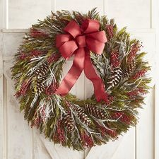 """Preserved Floral & Red Bow Oversized 30"""" Wreath"""