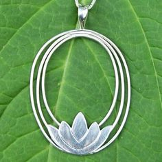 Lotus Flower Sterling Silver Pendant Necklace