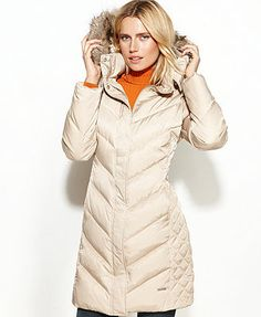 Kenneth Cole Reaction Coat, Hooded Faux-Fur-Trim Quilted Puffer... my new coat fascination
