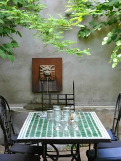 A shady, secluded spot on the patio and vintage outdoor.   The perfect place for a little escape.