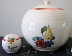 Vintage Cookie Jar Round Ball Fruit Pear Apple Grapes pepper Cronin Pottery