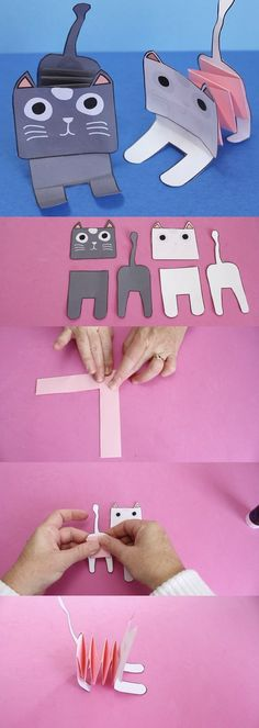 Accordion Paper Cats Paper Crafts easy paper crafts for kids Paper Crafts For Kids, Cat Crafts, Animal Crafts, Craft Activities For Kids, Simple Paper Crafts, Kids Arts And Crafts, Art And Craft, Children Crafts, Craft Ideas