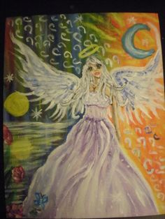 celest angel my first acrylic painting