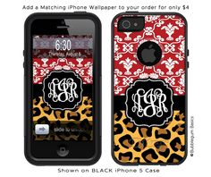 Damask Leopard otterbox for iphone 4 with my monogram!