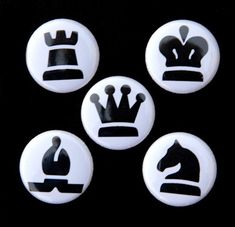 Chess Pieces 2 Set of 5 Pins Badges 1 inch. $3.75, via Etsy.