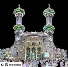 "By @mnmagicc ・・・ The Masjid AL Haram Makkah  المسجد الحرام مكة المكرمة باب الملك فهد  اللهم تقبل منا انك انت السميع العليم و تب علينا انك التواب الرحيم  The Great Mosque of Mecca (Arabic: المسجد الحرام‎‎, Masjid al-Ḥarām, lit. ""the sacred mosque""), also called the Grand Mosque,[4] is the largest mosque in the world and surrounds Islam's holiest place, the Kaaba, in the city of Mecca, Saudi Arabia. Muslims face in the Qibla (direction of the Kaaba) while performing Salat (obligatory daily…"