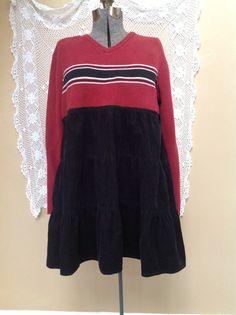 Upcycled Sweater Dress Winter Tunic Plus size Upcycled Rustic Tunic Dress Black Corduroy Cotton Skirt Upcycled Warm Berry V Neck sweater on Etsy, $78.00