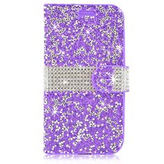 LG K7 Tribute 5 Diamond Leather Wallet Case Cover Purple
