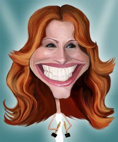 Julia Roberts..FOLLOW THIS BOARD FOR GREAT CARICATURES OR ANY OF OUR OTHER CARICATURE BOARDS. WE HAVE A FEW SEPERATED BY THINGS LIKE ACTORS, MUSICIANS, POLITICS. SPORTS AND MORE...CHECK 'EM OUT!! HERE ---->  http://www.pinterest.com