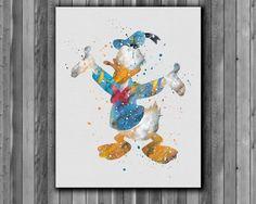 Donald Duck disney print   watercolor Art by digitalaquamarine