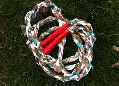 A jump rope made out of #recycled plastic bag yarn