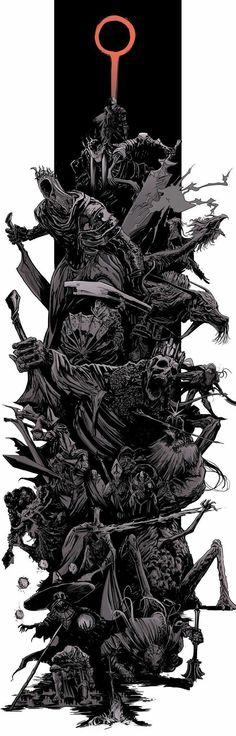 Dark Souls 3 bosses splash by uger Dark Souls 3, Arte Dark Souls, Dark Souls 2 Bosses, Dark Fantasy Art, Dark Art, Sketch Video, Splash Art, Soul Game, Arte Obscura