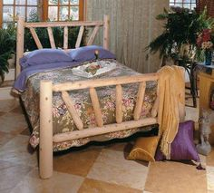 82 Handcrafted Cedar Log Style Wooden Sunrise King Bed Frame  #Eco-Friendly_Furnishings #Home