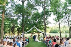 Backyard wedding in Arkansas underneath some towering trees. The arch at the front of the alter was DIY! Siloam Springs, Nashville, Dolores Park, Arch, Wedding Day, Backyard, Arkansas, Finals, Trees