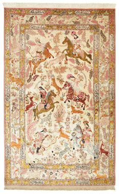Qum silk signed: Qum Sharifi carpet 212x133 cm knotted in the holy city of Qum in central Persia. The material used is silk which makes them thin and tight. The carpets are extremly well-made and in some cases very detailed - see more details of carpet at CarpetVista.com