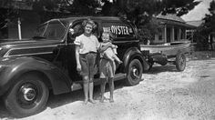 Three children standing by the Page Oyster Co. Panacea Florida, Franklin County, Old Florida, Three Kids, Oysters, Antique Cars, Memories, History, Children